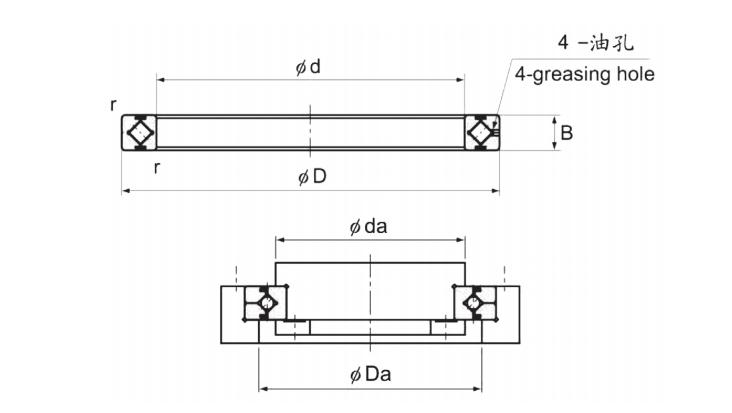 CRBH-A系列交叉滚子轴承结构图